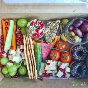 vegan snack and cheese platter